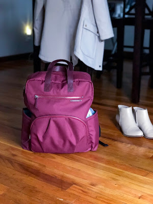 maroon backpack diaper bag