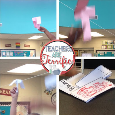 STEM Challenge: Kids create paper twirling helicopters and then test them in many sizes and weights of paper and then analyze results!