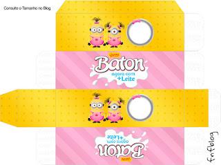 Cajas  para imprimir gratis de Minions Chicas para Cumpleaños.