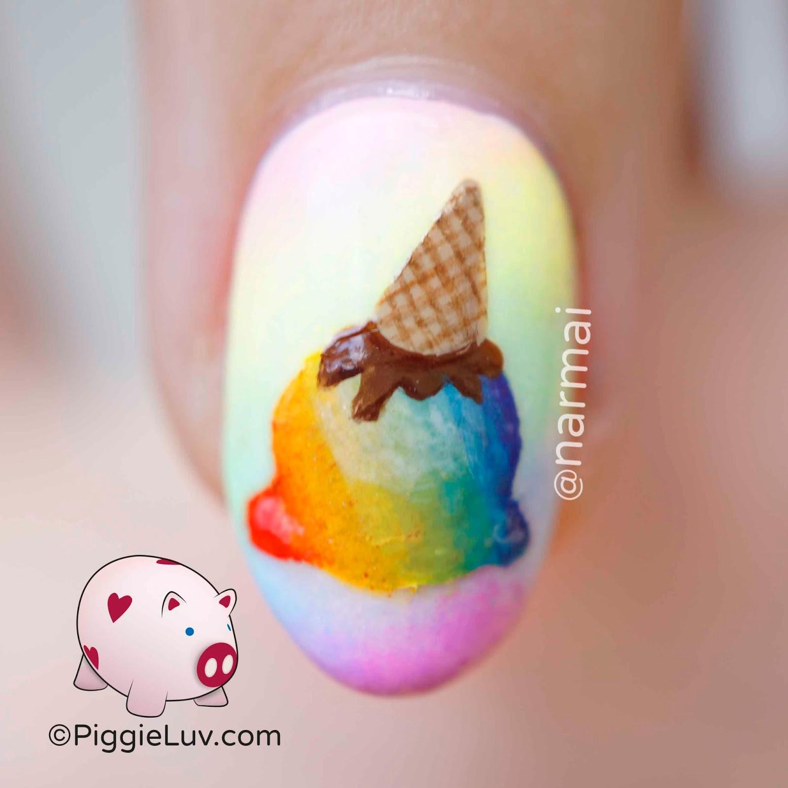 Piggieluv Rainbow Bubbles Nail Art: PiggieLuv: Rainbow Uni-cone Nail Art