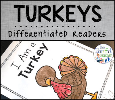 Thanksgiving is just around the corner! These differentiated turkey emergent readers are a perfect addition to the other activities, crafts, and ideas you have planned for your kids this November. Plus, sneak some writing practice in at the end of each book!