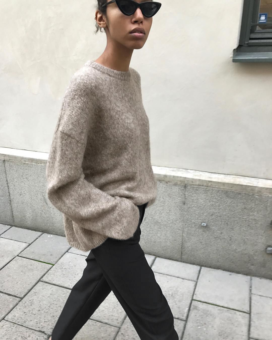 This Effortless 3-Piece Outfit Is Incredibly Chic — Cat-Eye Sunglasses, Neutral Sweater, and Black Pants