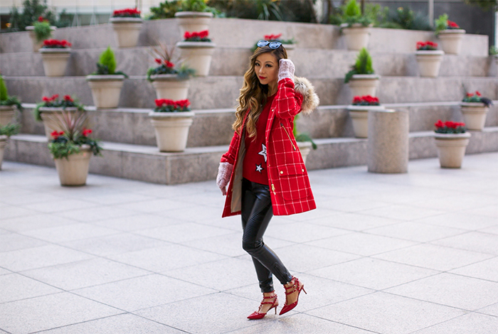 J crew Chateau parka in windowpane check, red checker coat, j crew chateau parka, coats for the holidays, moto pants, leather leggings, valentino rock studs, chanel boy bag, bauble bar gem tassels earrings, rebecca minkoff sweater, holiday outfit ideas, san francisco fashion blog, san francisco street style