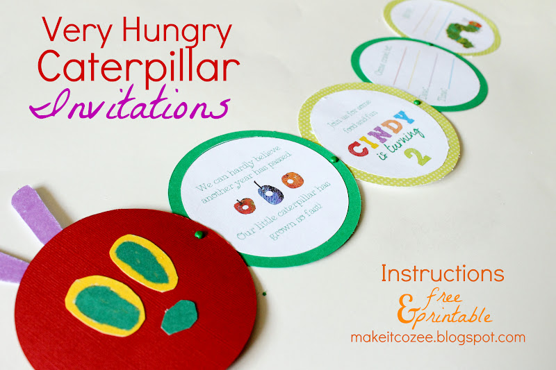 Make It Cozee Diy Very Hungry Caterpillar Invitations