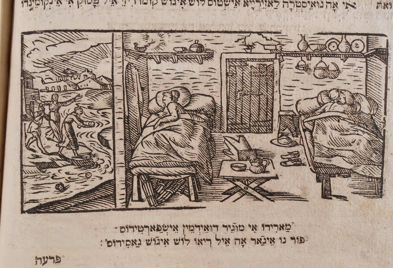A woodcut showing two figures in bed inside their home, while outside three figures seem to lament over babies in a river.