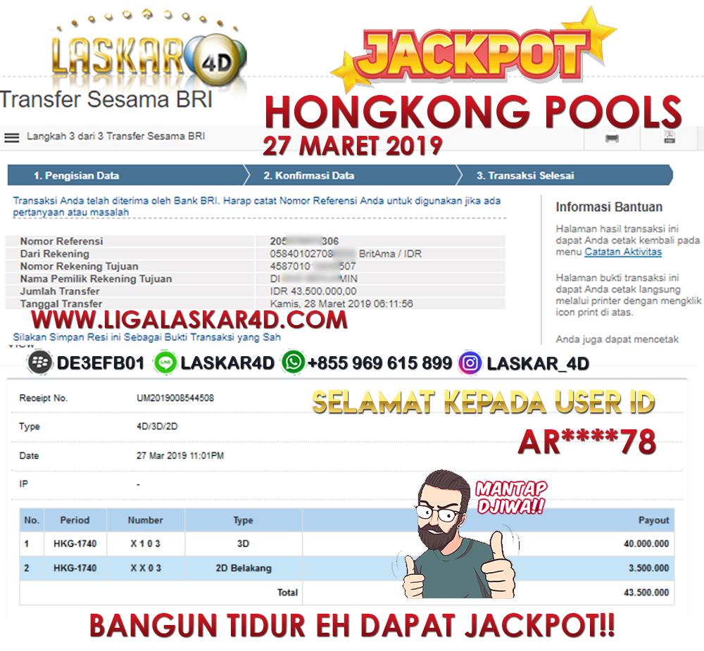 Jackpot Togel Hongkong 27 Maret 2019 Lunas