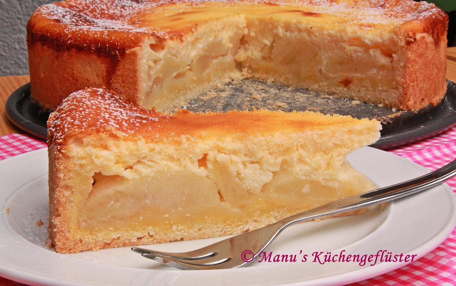 Manus Kuchengefluster Apfelkuchen Mit Quark Schmand Guss