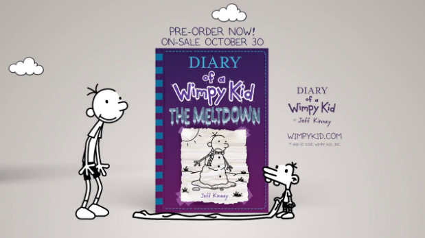 The cover of the book Diary of a Wimpy Kid: The Meltdown. It is purple and has a snowman on it.