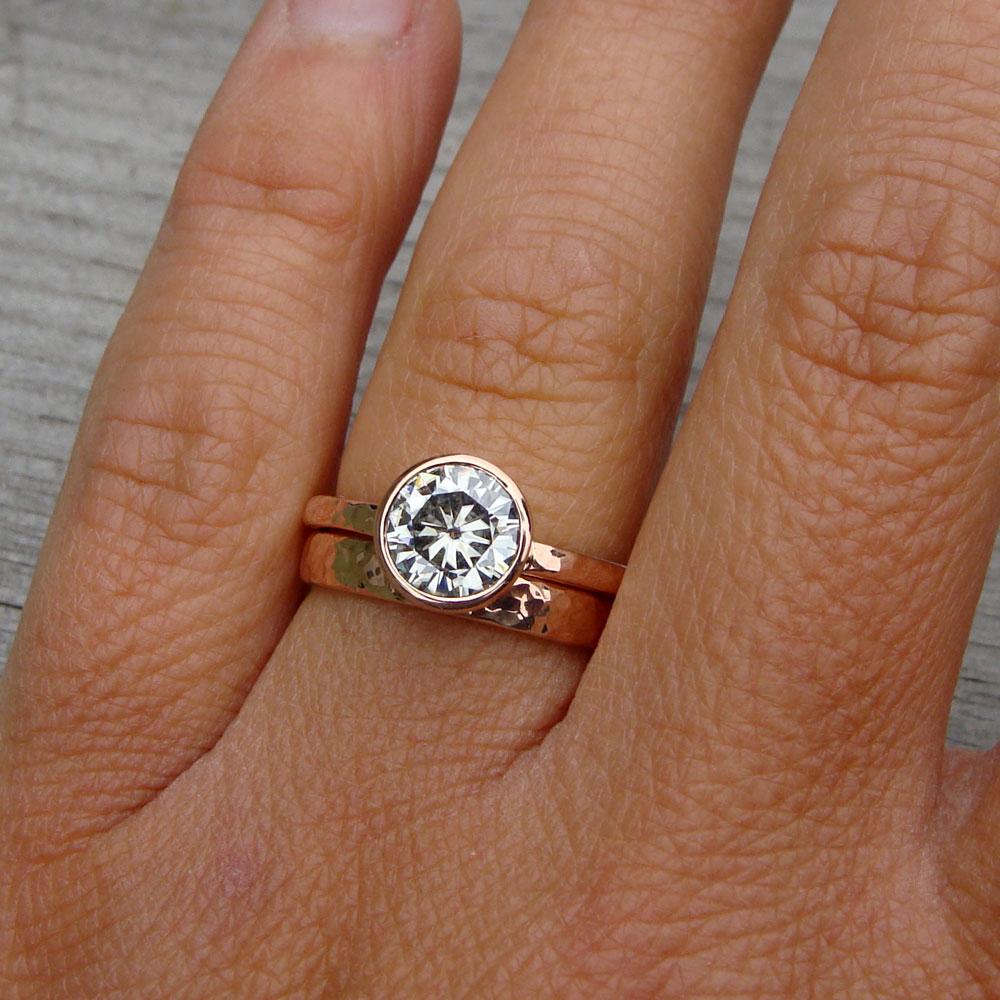 forever brilliant moissanite rose gold wedding rings rose gold engagement ring