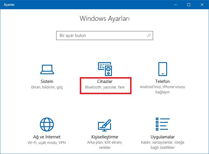 windows 10 ayarlar- cihazlar - www.ceofix.com
