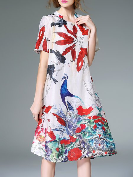 Multicolored A-line Silk Blend Stand Collar Vintage Style Midi Dress from fantiow