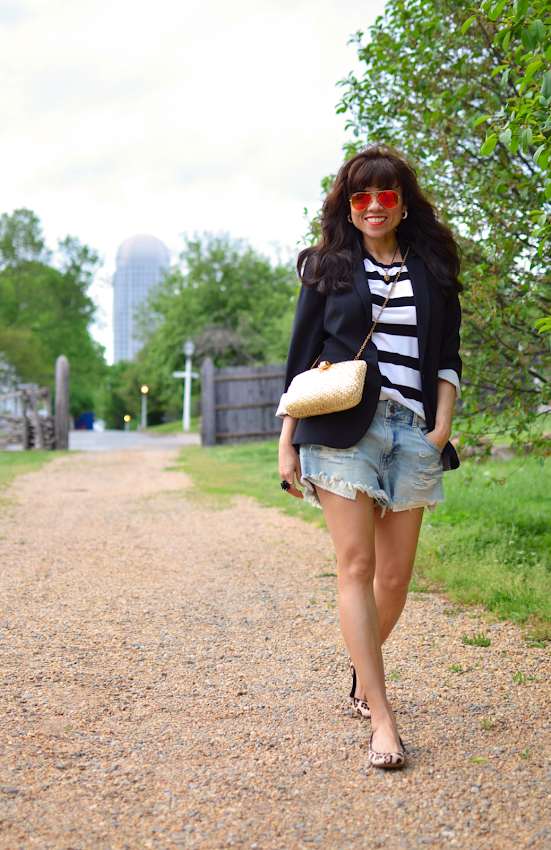 Weekend style with denim shorts