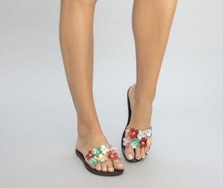 sandale fara toc cu model colorat cu flori ieftine