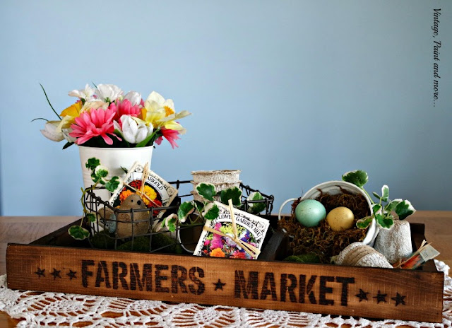 Vintage Spring Centerpiece diy'd from a pallet tray, stenciling and stain