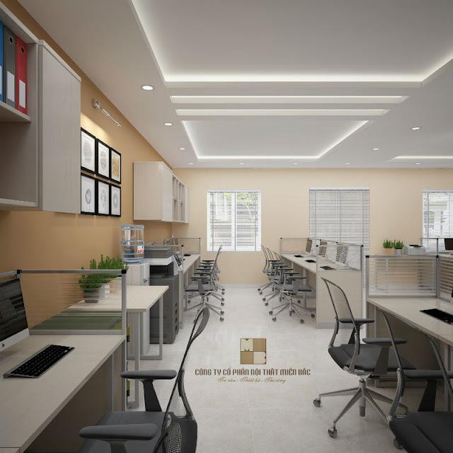 Thiết kế phòng làm việc đẹp, cao cấp với những chiếc bàn liền vách ngăn, những chiếc tủ tài liệu gắn tường đều là sự chọn lựa vô cùng hoàn hảo