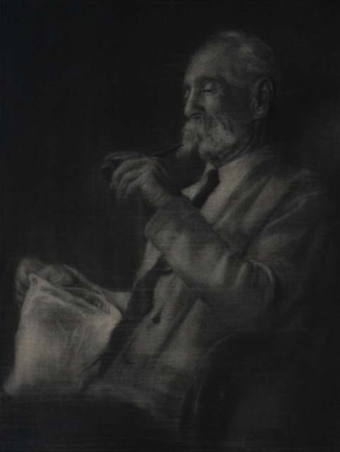 Calgary artist, realism, portrait, black and white, charcoal, drawing, pipe