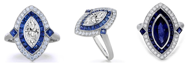 Diamond & Sapphire Cluster Marquise-Cut Art Deco Vintage Rings