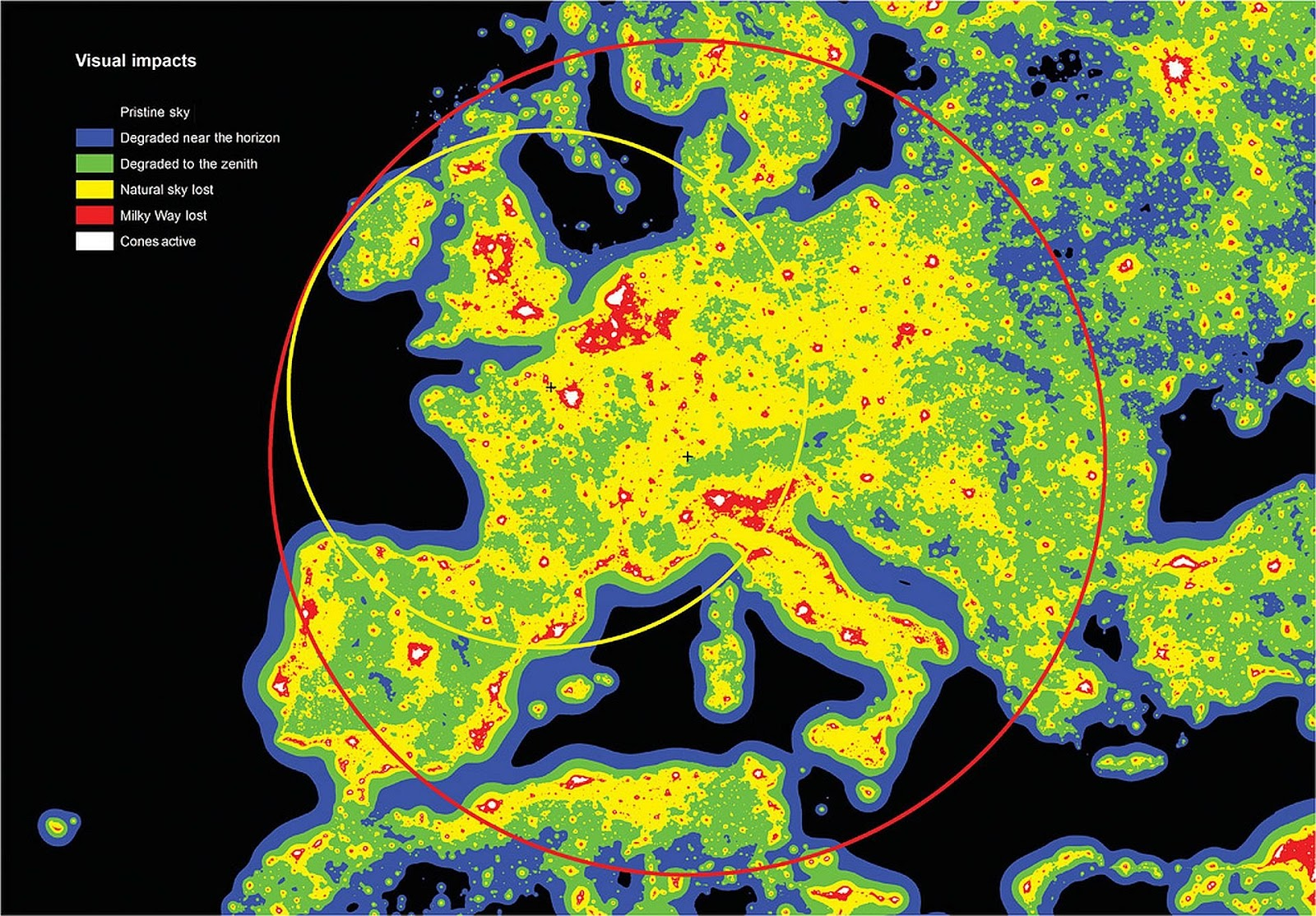 Visual impacts of artificial sky brightness in Europe