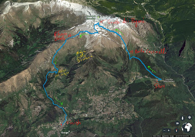 The annotated hike route around Presolana.