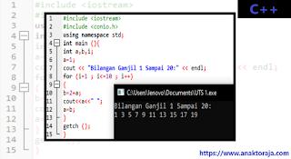 Contoh Program Deret Bilangan Ganjil 1-20 C++