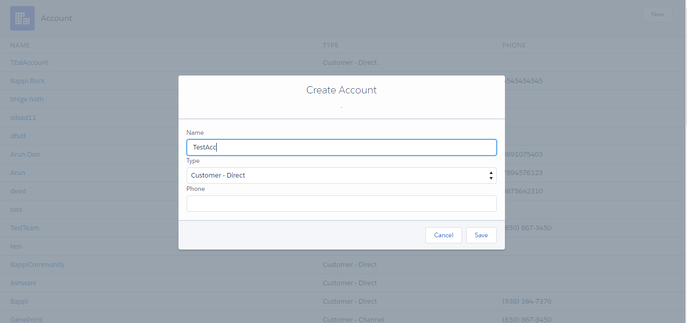 Create And Display Account Records Using Lightning Component