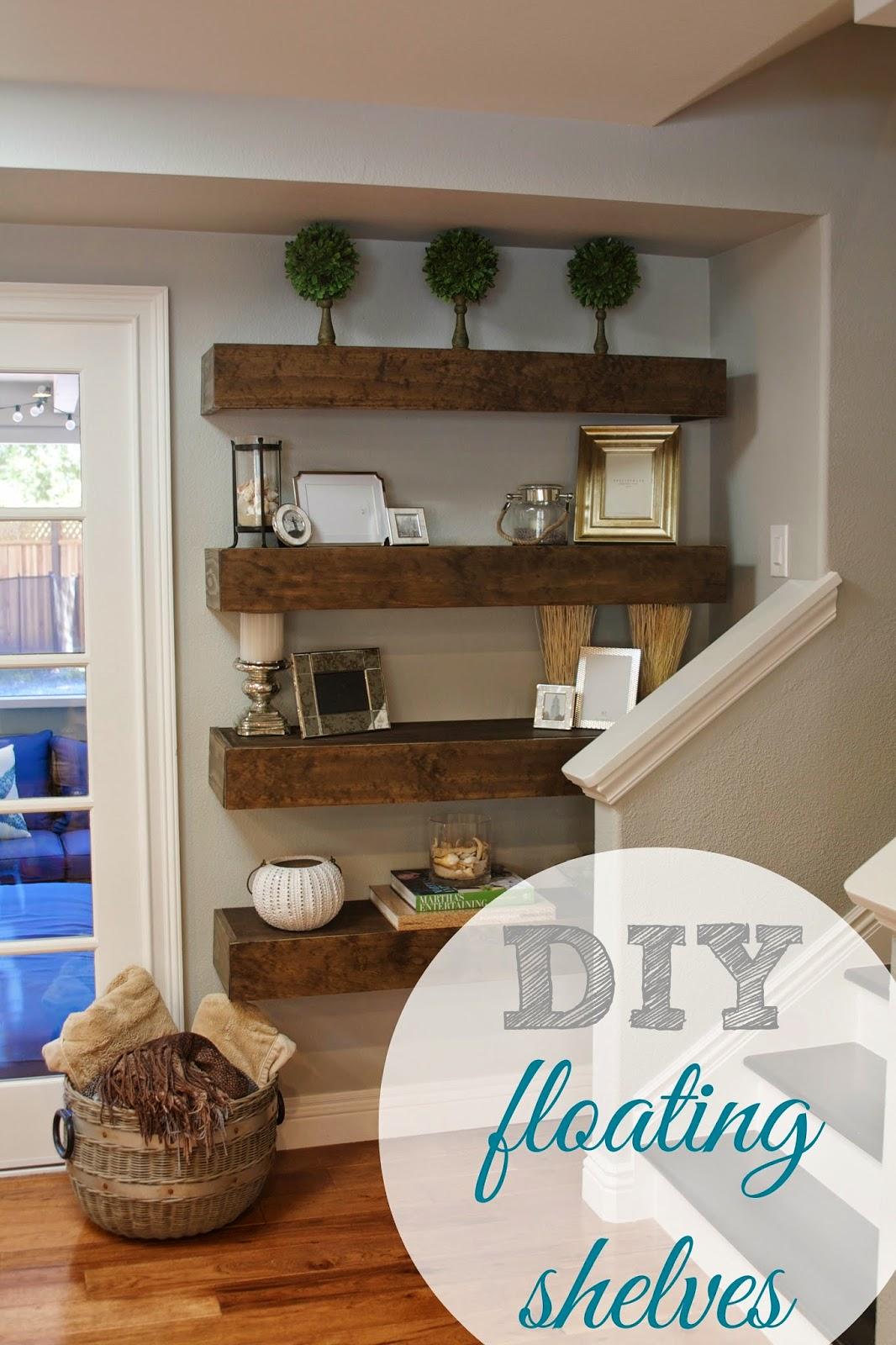 Shelves In The Living Room: Day 27 - Shelves {31 Cheap & Easy DIY Organizers}