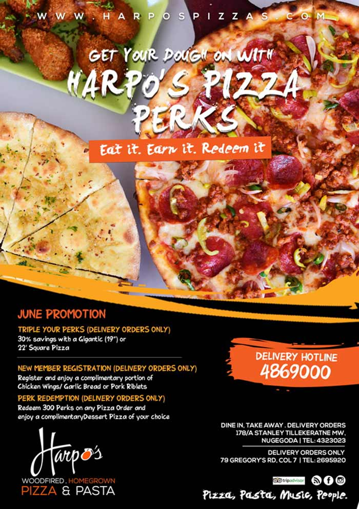 Triple your Perks in June with  Harpo's Pizza ! Call 486 9000