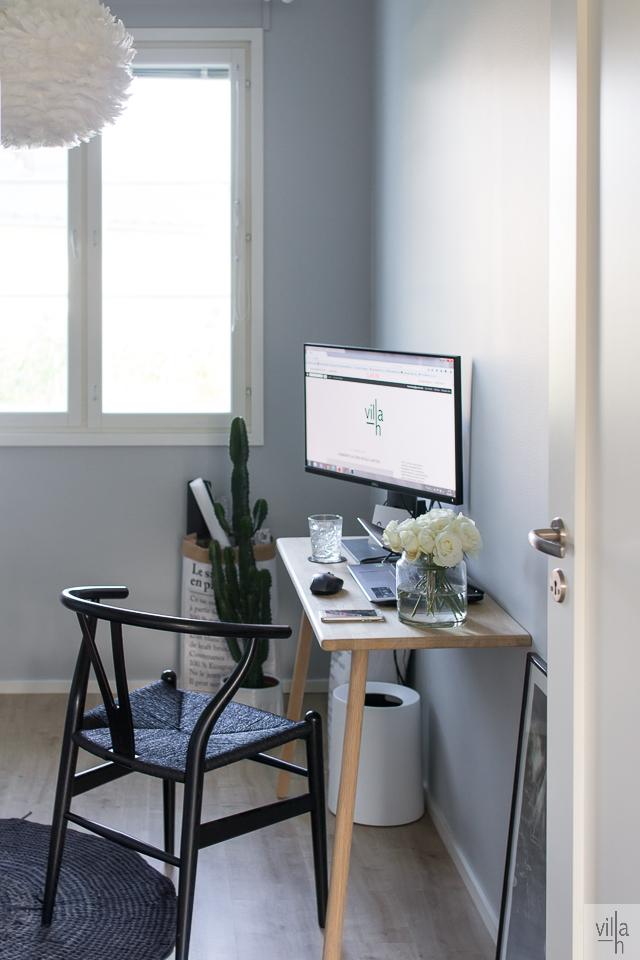 sisustus, työhuone, wishbone, skakerag työpöytä