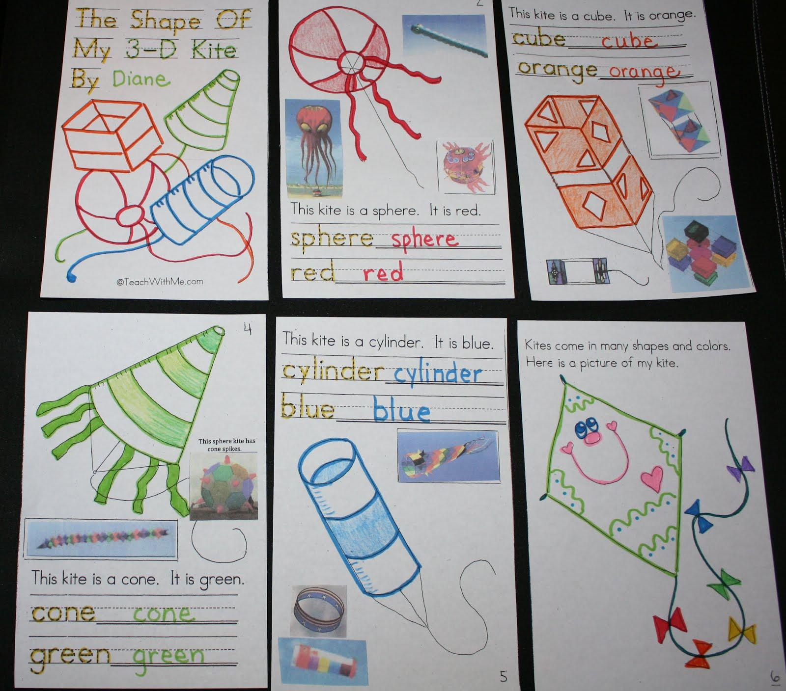 Classroom Freebies Too Pk 2 3d Shapes Kite Booklet