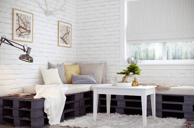 Tegelsten tapet tegelvägg vit tegeltapet vardagsrum