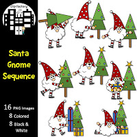 Santa Gnome Sequence Clip Art