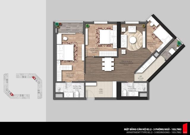 Thiết kế căn B2.2 diện tích 103,7m2 chung cư The Emerald