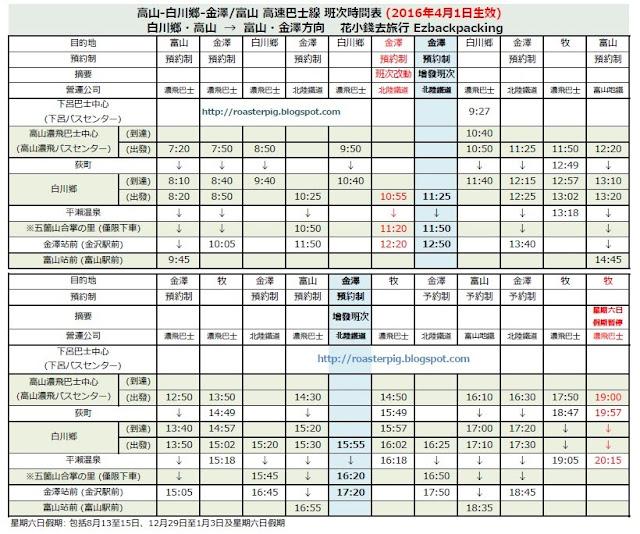 高山-白川鄉-金澤/富山 高速巴士線 班次時間表 (2016年4月1日生效) 花小錢去旅行