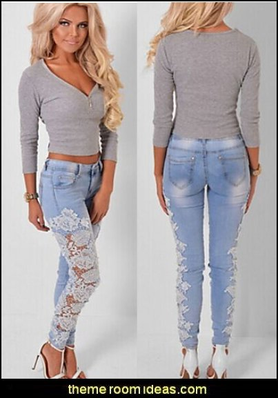 Women's Mid Rise strenchy Jeans Pants,Simple Skinny Patchwork Lace