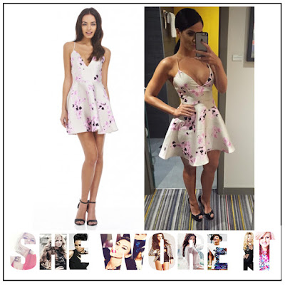 AX Paris, Back Detail, Cream, Cross Over Straps, Dress, Floral Print, Judge Geordie, Light Grey, Lilac, Mini Dress, Plunge Front,