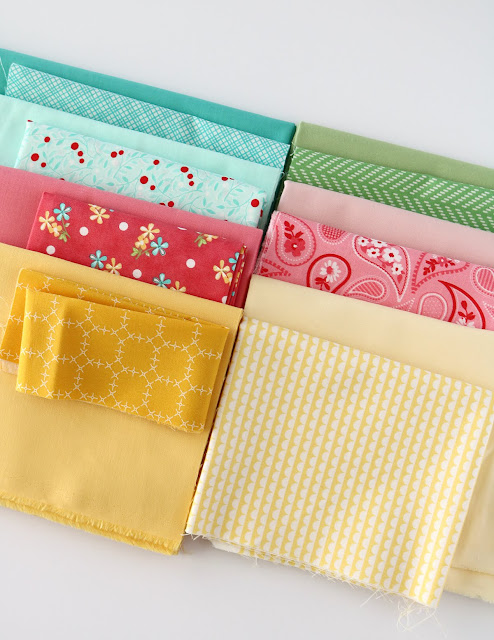 Stack of fabrics -- A Bright Corner blog