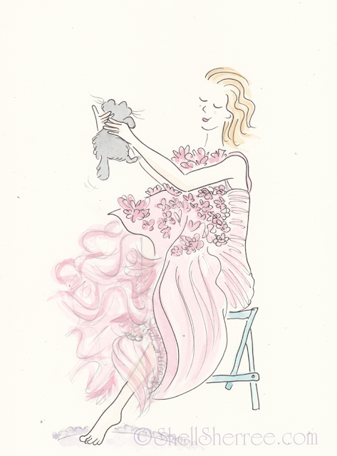 Fashion and Fluffballs illustration: Pink Petal Pies and Coochie-Coo  © Shell-Sherree