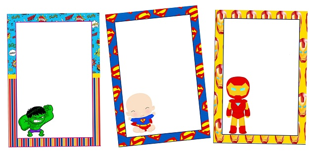 Baby Superheroes Free Printable Invitations, Cards or Frames.