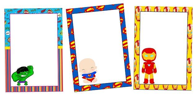 Marcos, Invitaciones, Tarjetas o Etiquetas de Super Héroes Bebés para Imprimir Gratis.