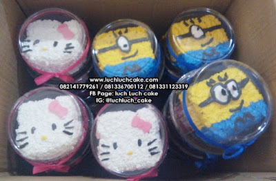Mini Cake Souvenir Ulang Tahun Hello Kitty dan Minion