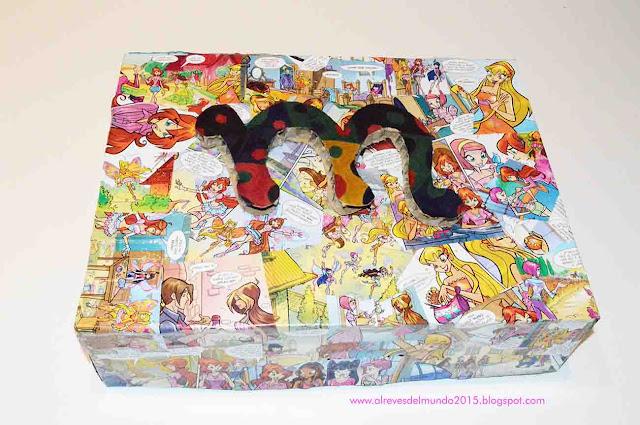 caja comic decoupage