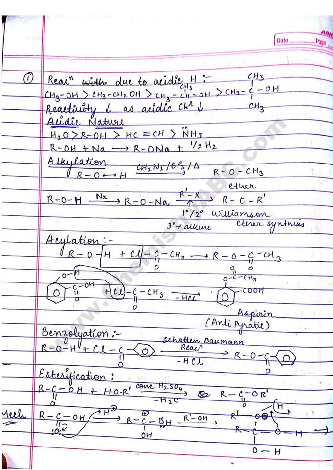 e-Learning: Chemistry notes, Alcohol, phenol and ether