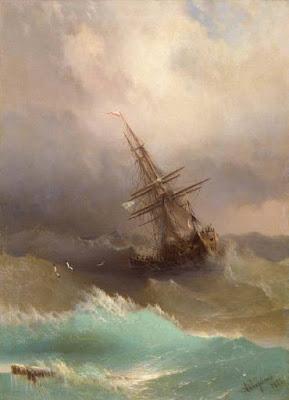 Climbing My Family Tree: SHIP IN THE STORMY SEA, by Ivan Aivazovsky, 1887  (public domain)