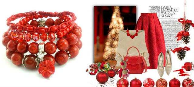Zestaw świątecznej stylizacji ubrań z czerwonymi bransoletkami z kamieni naturalnych.