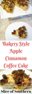 Bakery Style Apple Cinnamon Coffee Cake: Serve this as a morning treat, or warm it up in the evening and serve it with a scoop of vanilla ice cream for dessert.  This is the perfect autumn recipe! - Slice of Southern