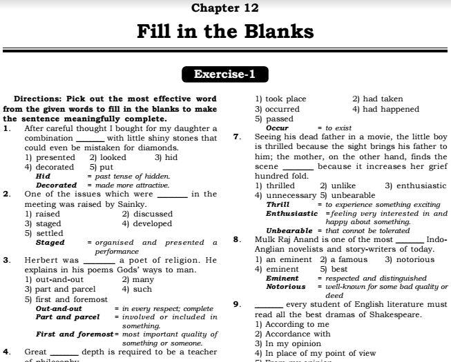 english fill in the blanks points practice exercises answers pdf