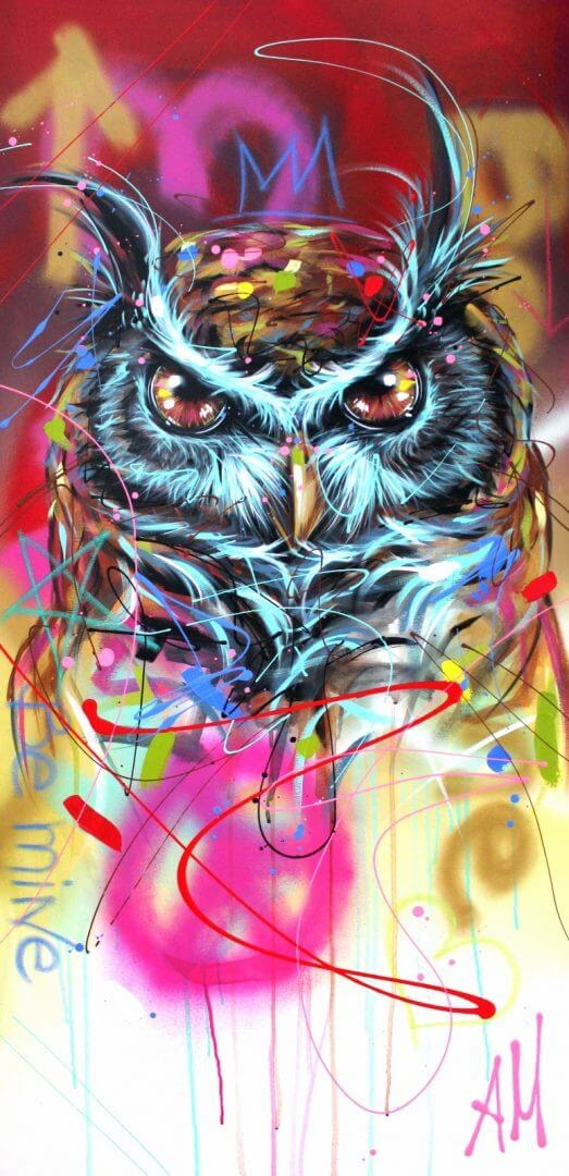 13-Owl-Andrea-Marqui-Bright-Paintings-of-Animal-Portraits-www-designstack-co