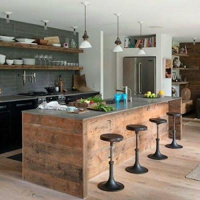 Cozinha americana - bancada rústica