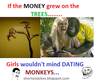 funny girls saying that if trees grew money girls would not mind dating monkeys..lol