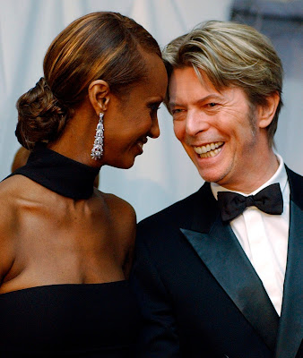 David Bowie and his wife Iman at the Council of Fashion Designers of America Awards in New York City 2002